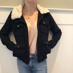 Volcom shearling collared zip sweatshirt S